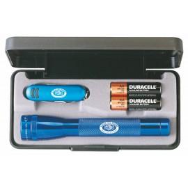 Custom Imprinted AA Mini Maglite Flashlight w/ Alpine Pocket Knife - Blue