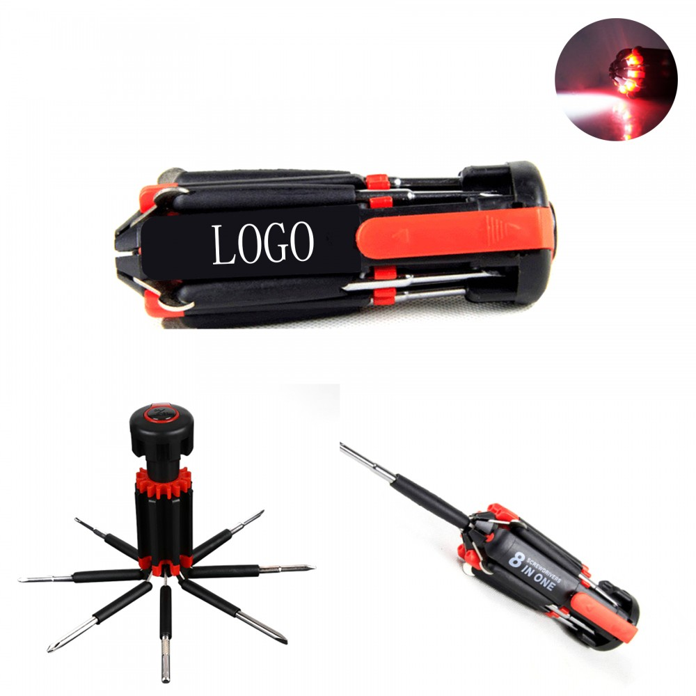 8-In-1 Multi-Function Screwdriver With LED Logo Branded