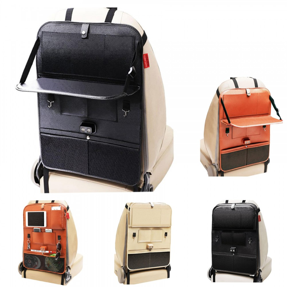 Custom Printed PU Leather Car Seat Back Hanging Organizer Bag