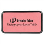 "1.5"" x 3"" - Premium Leatherette Name Tags or Badges - Rectangular - Laser Engraved Logo Imprinted"