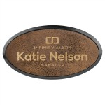 """Custom Imprinted 1.5"""" x 3"""" - Premium Leatherette Name Tags or Badges - Oval - Laser Engraved"""