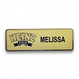 """Custom Printed Frosted Full Color Metal Badge - Gold Brass - 1""""x3"""" - USA Made"""