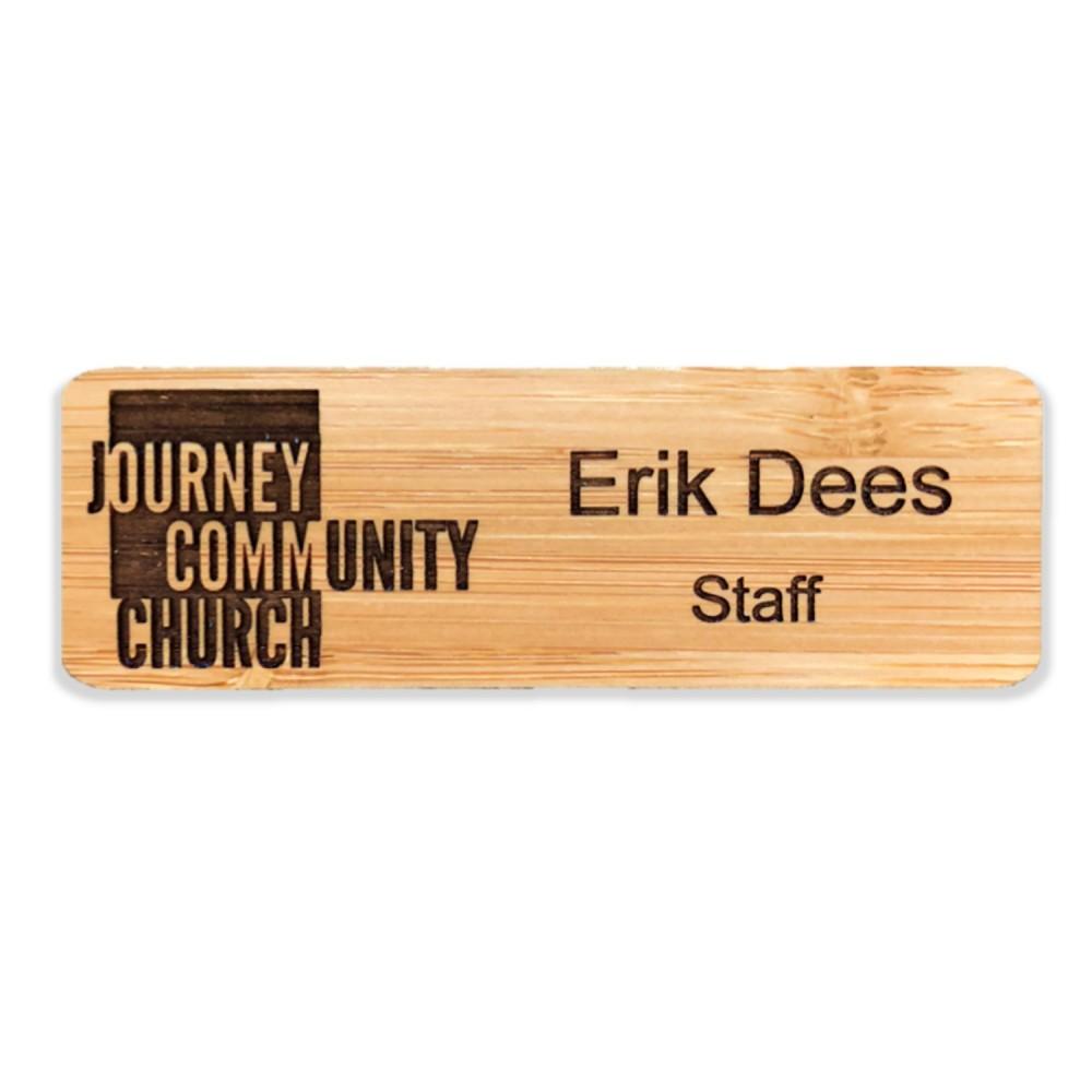 Custom Imprinted Engraved Wood Badge