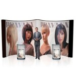 """Custom Printed 20ft Trade Show Display System. The Pop Up forms an open """"M"""" shape grabbing"""