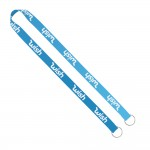 """Logo Imprinted Import Rush 3/4"""" Dye-Sublimated Double-Ended Lanyard with Dual Sewn Silver Metal Split-Ring"""