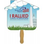 House Sandwiched Hand Fan Full Color Custom Printed