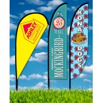 Zoom 3 Teardrop Flag w/ Stand - 10ft Double Sided Graphic Custom Imprinted