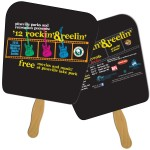 Logo Branded Tapered Square Sandwiched Hand Fan Full Color