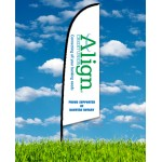 Custom Imprinted Zoom 2 Straight Flag w/ Stand - 8ft Single Sided Graphic