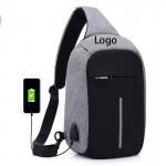 Anti-theft Oxford Cloth Chest Bag/ USB Charging Port Custom Imprinted