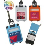 Full Color Suitcase Shaped Luggage Tag with Pop Up Cover Logo Branded