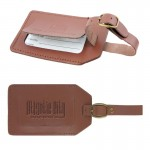 Logo Branded Concord Leather Luggage Tag (english tan)