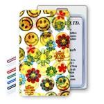Custom Printed Lenticular Flip Smiley Faces & Flowers Luggage Tag (Imprinted)