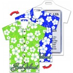Custom Printed Shirt Shape Luggage Tag w/Hawaiian Flowers Lenticular Design - Green/Blue (Custom)