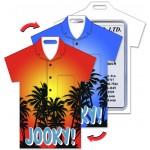 Custom Imprinted Lenticular Color Changing Shirt Shape Luggage Tag w/Black Palm Trees (Custom)