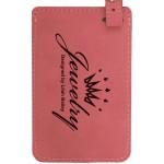 Luggage ID Tag - Pink, Leatherette Custom Printed