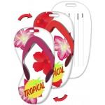 Flip-Flop Shape Luggage Tag w/Hawaiian Flowers Lenticular Design (Custom) Custom Imprinted
