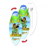 Custom Printed Surfboard Luggage Tag w/Hawaiian Hula Girl Lenticular Flip Design (Custom)