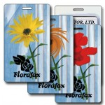 3D Lenticular Yellow/Red Flower Twist Stock Image Luggage Tag (Imprinted) Logo Branded