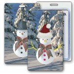 Custom Printed 3D Lenticular Snowman/ Santa Stock Image Luggage Tag (Imprinted)