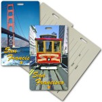 Privacy Luggage Tag w/3D Lenticular Images of San Francisco Landmarks (Imprinted) Logo Branded