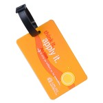 Logo Branded 3D Molded Color Luggage Tag W/ Loop Attachment