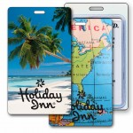 3D Lenticular Beach Palm Tree/ Map Stock Image Luggage Tag (Imprinted) Logo Branded