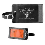 """Tomcat"" Two-Tone Leatherette Black & Gray ID Slip-In Luggage Bag Tag (Overseas) Custom Printed"