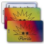 Lenticular Luggage Tag / Changing Color - Yellow/Purple/Orange (Imprinted) Custom Imprinted