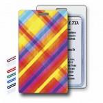 Custom Printed Lenticular Flip Rainbow Vibrant Plaid Luggage Tag (Imprinted)