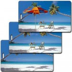 Logo Branded 3D Lenticular Beach Chair/Palm Stock Image Luggage Tag (Imprinted)
