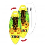 Logo Branded Surfboard Luggage Tag w/Hawaiian Tiki Statue Lenticular Flip Design (Custom)