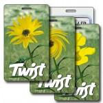 Custom Imprinted 3D Lenticular Yellow Flower Twist Stock Image Luggage Tag (Imprinted)