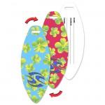 Surfboard Luggage Tag w/Hawaiian Flowers Lenticular Flip Design (Custom) Custom Imprinted
