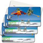 Privacy Luggage Tag w/3D Lenticular Images of Beach & Umbrella (Imprinted) Custom Imprinted