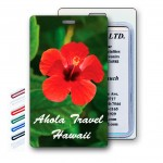 3D Lenticular Red Hibiscus Flower Stock Image Luggage Tag (Imprinted) Custom Printed