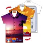 Shirt Shape Luggage Tag w/Hawaiian Sunset Lenticular Design (Custom) Custom Imprinted