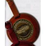 "Custom Printed Round Leather Bag Tag 3"" w/ Club Lorente 2"" Coin"