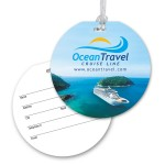Custom Printed Ultra-Thin Round Luggage Tag with Clear Strap