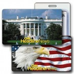 Custom Printed 3D Lenticular White House & US Flag Stock Image Luggage Tag (Imprinted)