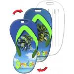 Custom Imprinted Flip-Flop Shape Luggage Tag w/Palm Tree Lenticular Design (Custom)