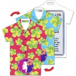 Custom Printed Shirt Shape Luggage Tag w/Hawaiian Flowers Lenticular Design - Red/Turquoise (Custom)