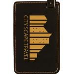 Luggage ID Tag - Black, Leatherette Custom Imprinted