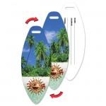 Surfboard Luggage Tag w/Tropical Palm Tree Lenticular Flip Design (Custom) Logo Branded