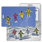 3D Lenticular Skiers/ Slope/ Jump Stock Image Luggage Tag (Imprinted) Logo Branded