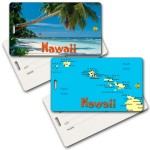 Custom Printed Privacy Luggage Tag w/3D Lenticular Images of Beach & Hawaiian Map (Imprinted)