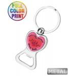 Heart Bottle Opener Keychain-Full Color Custom Imprinted