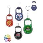 Logo Branded Beer Bottle Opener W/LED Light Keychain - Full Color Print