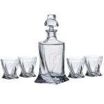Personalized Quadro Decanter (28.75 oz.) with Four Matching (11.5 oz.) Quadro Rocks Glasses Set (5 Piece Set)