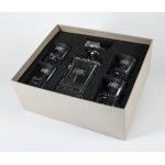 Promotional Uptown/Deluxe Crystal Bar Set w/Decanter & 4 Rocks Glasses